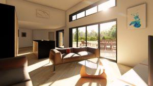 L'utilisation de grandes baies vitrées sert à exploiter le soleil au maximum. Elles permettent de faire entrer le maximum de chaleur dans la maison.