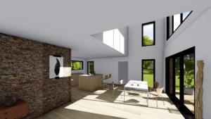 La hauteur sous plafond donne une maison donne de la perspective et une notion d'espace. Elle nécessite une technicité particulière d'un point de vue architecture.