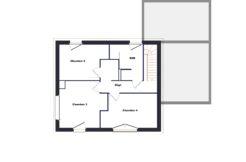 Plan de l'étage accueillant les trois chambres et la salle d'eau