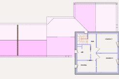 A l'étage, deux belles chambres occupent l'espace avec une salle de bain et un dressing