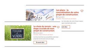 La rubrique Guide et Conseils de l'application Nestor propose des articles en lien avec votre projet de construction