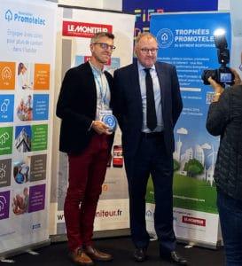 Scéance photo pour Trecobat qui reçoit le trophée Promotelec 2019