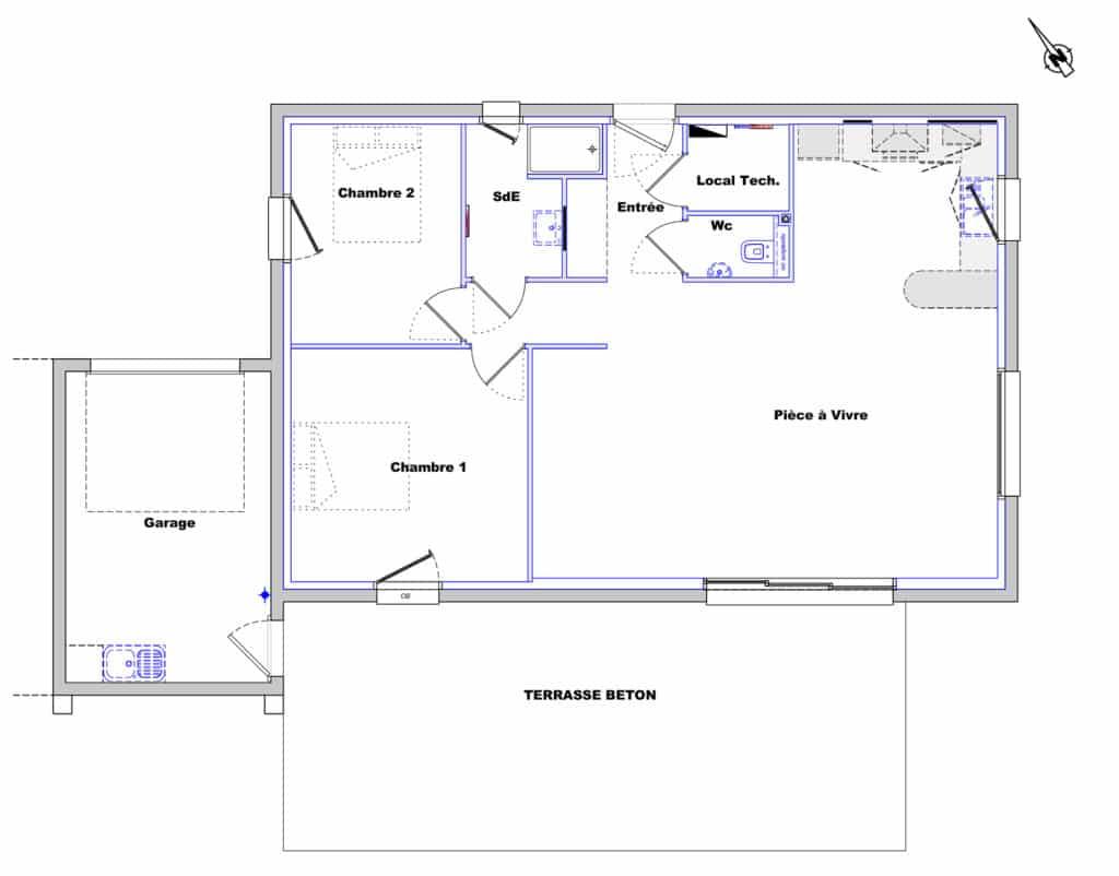 Plan De Maison 2 Chambres Modele Habitat Concept 101 4